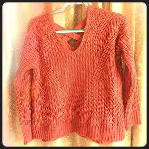 Coral pink knit sweater cross straps back v neck